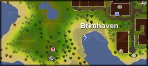 Zybez RuneScape Help's location of the Brimhaven Dungeon